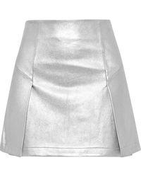 Robert Rodriguez Leather Mini Skirt Silver - Metallic