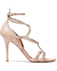 Valentino Love Latch Eyelet-embellished Leather Sandals Pastel Pink