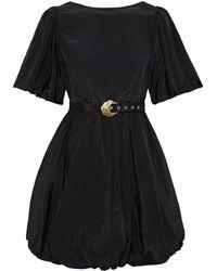Nicholas Aleksey Belted Gathered Taffeta Mini Dress - Black