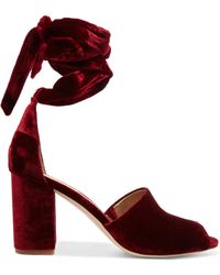 Sam Edelman - Lace-up Velvet Sandals - Lyst