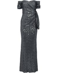 Badgley Mischka - Off-the-shoulder Knotted Sequined Tulle Gown - Lyst