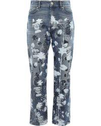 Versus Cropped Metallic Printed High-rise Straight-leg Jeans Mid Denim - Blue