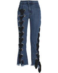Marques'Almeida Lace-up Flared Jeans Mid Denim - Blue
