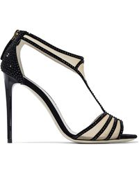 Giorgio Armani - Crystal-embellished Suede And Mesh Sandals - Lyst