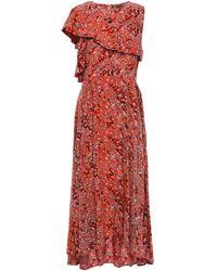 Maje Layered Printed Crepe De Chine Midi Dress Tomato Red