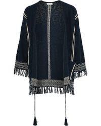 Soft Joie Woman Ayana Fringe-trimmed Cotton-blend Jacket Navy - Blue