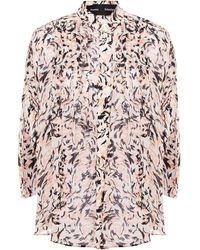 Proenza Schouler Pleated Printed Crepe Blouse Pastel Pink
