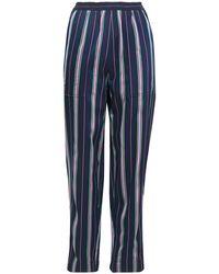 Nina Ricci Striped Satin-jacquard Tapered Trousers - Blue