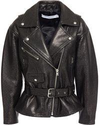 IRO Metallic Laser-cut Leather Biker Jacket - Black