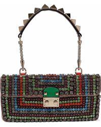 Valentino - Crystal-embellished Leather Shoulder Bag - Lyst