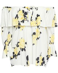Ganni Silvery Off-the-shoulder Ruffled Floral-print Crepe Top - White