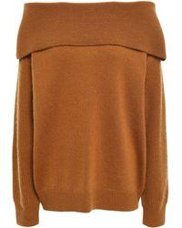Diane von Furstenberg Off-the-shoulder Wool And Cashmere-blend Jumper Camel - Multicolour