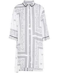 DKNY Nachthemd aus glänzendem crêpe mit print - Weiß