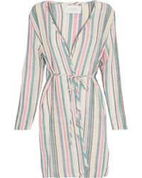 Solid & Striped The Erin Striped Cotton-blend Gauze Robe - Blue
