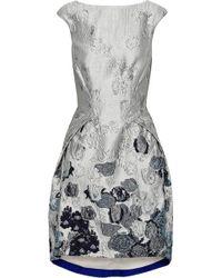 Amanda Wakeley - Woman Metallic Cloqué-jacquard Dress Gray - Lyst