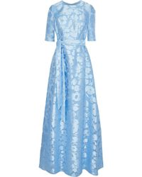 Lela Rose - Woman Holly Belted Fil Coupé Gown Sky Blue - Lyst