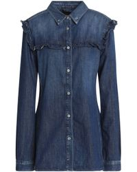 7 For All Mankind - Ruffle-trimmed Denim Top - Lyst