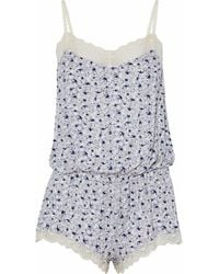 Eberjey - Lace-trimmed Printed Modal-blend Playsuit - Lyst