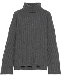 MILLY Faux Pearl-embellished Ribbed Cashmere Turtleneck Jumper Grey - Gray