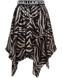 Just Cavalli - Asymmetric Tiger-print Sequined Tulle Skirt Black - Lyst