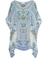 Camilla Miranda's Diary Crystal-embellished Printed Silk Kaftan Light Blue