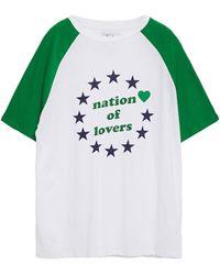 Zoe Karssen Nation Of Lovers Printed Cotton And Linen-blend T-shirt Green