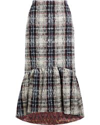 Stella Jean - Fluted Checked Bouclé-tweed Skirt - Lyst