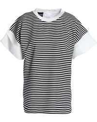 Boutique Moschino - Poplin-paneled Striped Jersey Top - Lyst