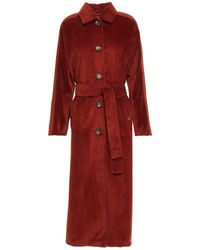 American Vintage Ibizoo Belted Cotton-blend Corduroy Coat - Red