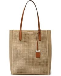 Michael Kors - Eleanor Perforated Suede Tote - Lyst