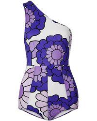 Dodo Bar Or One-shoulder Floral-print Swimsuit Purple