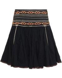 Étoile Isabel Marant Breeda Embroidered Cotton-gauze Mini Skirt Black