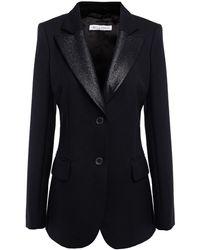 Bella Freud Lamé-trimmed Wool-blend Blazer - Black