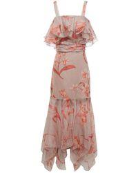 Johanna Ortiz Hula Dance Ruffled Floral-print Silk-organza Midi Dress Grey