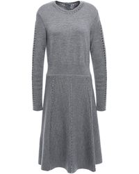 Lela Rose Open Knit-trimmed Mélange Wool-blend Dress Grey - Gray
