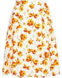 Carolina Herrera - Pleated Printed Cotton Skirt - Lyst