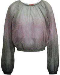 Missoni Dégradé Metallic Crochet-knit Top Platinum - Multicolour