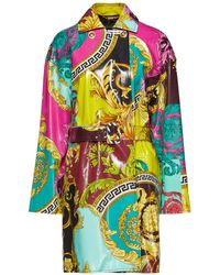 Versace Bedruckter Trenchcoat Aus Beschichtetem Canvas - Mehrfarbig