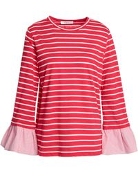 CLU - Fluted Striped Cotton-blend Jersey Top - Lyst