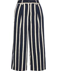 Iris & Ink Faye Pleated Striped Stretch-crepe Culottes Navy