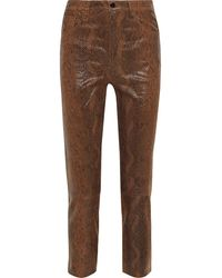 J Brand Ruby Cropped Snake-effect Leather Slim-leg Trousers - Brown