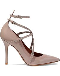 Valentino - Love Latch Eyelet-embellished Matte And Patent-leather Court Shoes - Lyst