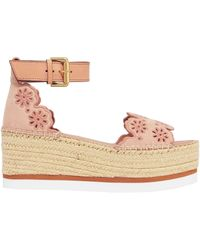 See By Chloé See By Chloé Laser-cut Embroidered Suede Platform Espadrille Sandals Antique Rose - Multicolour