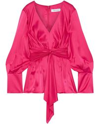 Prabal Gurung Knotted Pleated Silk-satin Blouse - Pink