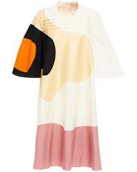 ROKSANDA Panelled Pleated Cotton-blend Dress - Natural