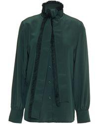 Tory Burch Fringe-trimmed Tie-neck Silk Crepe De Chine Blouse Dark Green