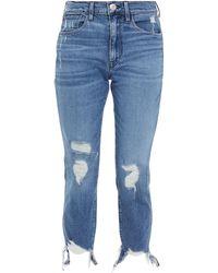 3x1 Halbhohe Cropped Jeans Mit Geradem Bein In Distressed-optik - Blau