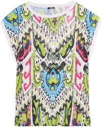 Just Cavalli Printed Sequined Stretch-jersey Top - Multicolour