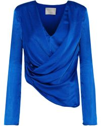 14ae20d41a98d Jason Wu - Woman Asymmetric Draped Silk-satin Top Bright Blue - Lyst