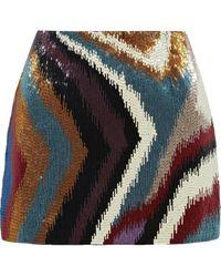 Roberto Cavalli Chameleon Rug Beaded Silk-satin Mini Skirt Multicolor